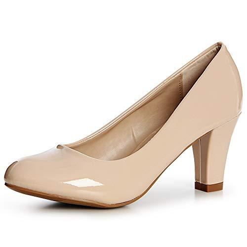 topschuhe24 1492 Damen Lack Pumps High Heels Basic, Farbe:Beige, Größe:39 EU