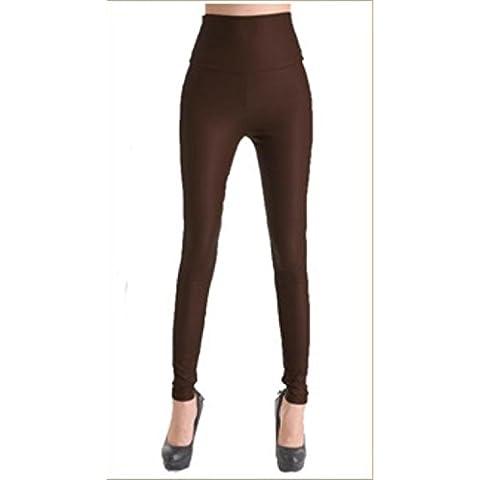 Donna autunno grandi dimensioni PU vita alta elasticizzato gamba pantaloni piedi pantaloni di pelle stretti matita multicolor , brown , s
