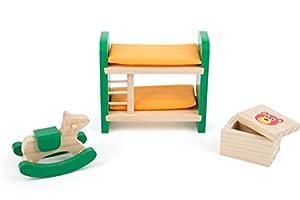 Small Foot 10871 - Mueble de Madera para casa de muñecas, Incluye Litera con diseño de Animales de balancín y Caja de Juegos, Ideal para niños a Partir de 3 años