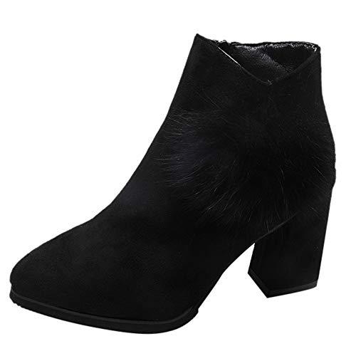 MYMYG Damen Casual Ankle Boot High Heel Faux Pelz Spitze Zehe Ankle Schuhe Kurze Stiefel Kurzschaft Winterstiefel Flache Booties Ankle Boots mit Halbhohe Blockabsatz
