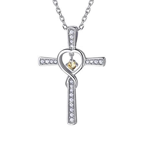 nger Halskette 925 Silber Schmuck Unendlichzeichen mit synthetischen gelber Topas Geburtsstein Monat November 46+5cm Rolokette für Mädchen ()