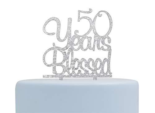 (MiGoo Kuchendekoration, 50 Jahre, aus Acryl, für 50. Geburtstag, Party, Hochzeit, Jahrestag, Feier, Silberfarben)