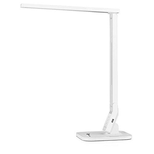 TaoTronics 14W Schreibtischlampe LED Tischlampe 4 Modi dimmbar mit eingebautem USB-Anschluss zum Aufladen von Smartphones weiß
