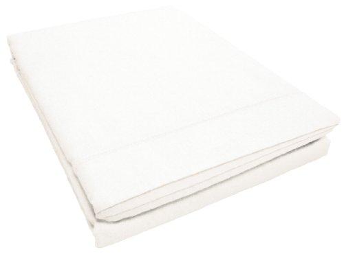 Douceur d'Intérieur Drap Plat Uni Coton + Point Bourdon 57 Fils Blanc 240 x 300 cm