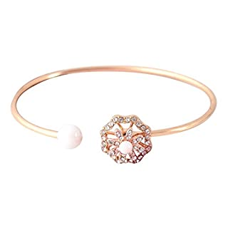 AmaMary88 Bangle for Women, Bling Bling Pearl Flower Diamond Encrusted With A Rotary Bracelet Can Adjust The Bracelet (gold)