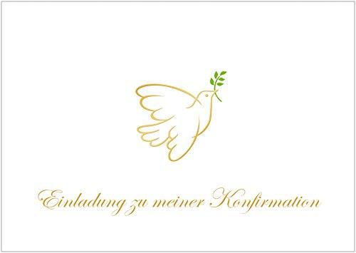 """Erhältlich im 1er 4er 8er Set: """"Einladung zu meiner Konfirmation"""" schlichte Einladungskarte zur Konfirmation (Klappgrußkarte/ Grußkarte/ Konfirmations Karte/ Feier/ Blanko) für ein Mädchen/ Junge mit einer Taube in Gold gelb. (Mit Umschlag oder optional mit frankiertem Umschlag)"""