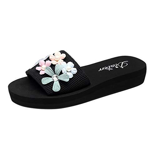 LianMengMVP Damen Badeschuhe Sommer Mode Flache Ferse Hausschuhe Blumen Perle Plateau Sandalen Bequem Peep Toe Schuhe Outdoor Hausschuhe Strandschuhe