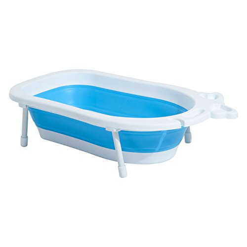 HOMCOM 30L Baby Bath Tub Foldable Toddler Kids Infant Wash Play Plastic (Blue)