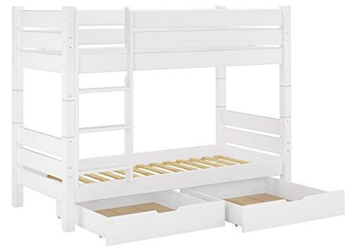 Erst-Holz® Massivholz-Etagenbett weiß 90x200 Nische 80cm teilbar Rollrost Bettkasten 60.16-09 W T80 S2 (Massivholz Etagenbett)