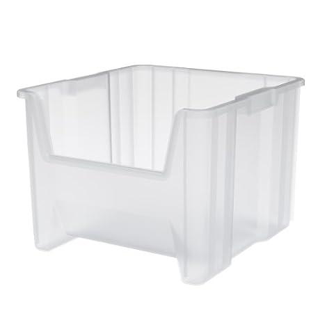 Akro-Mils 13018 Stak-N-Store Stacking Hopper Front Plastic Storage Bin, Clear, Case of 2