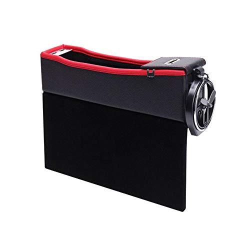 Preisvergleich Produktbild Volwco Car Gap Filler Organizer, multifunktionaler Autositz Seitentasche Aufbewahrungsbox mit Flaschenhalter, Münzsortierer und 2 USB-Ladeanschlüssen (schwarzer roter Treiber)