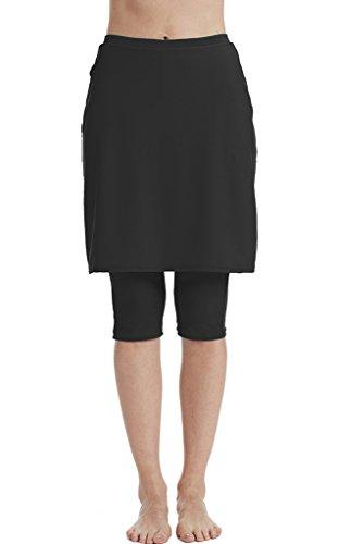 Hungo Damen Schwimmrock mit Leggings Bikinirock Strandrock Badeshorts Skirted Bikini Bottom Schwarz