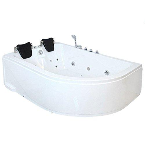 supply24 XXL Luxus Whirlpool Badewanne Bali LINKS mit 14 Massage Düsen + Armaturen Wanne mit Kopfstützen Hot Tub Spa indoor/innen für 2 Personen für linke Eckmontage