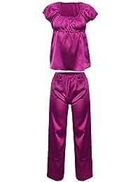 Lady-Mode Damen Pyjama-Set Schlafanzug aus Satin Anabel (XS - 2XL)