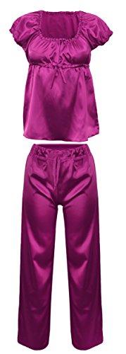 DKaren-Nachtwäsche Damen Wäsche-Set aus Satin ANABEL (XS - 2XL) (Rosa)Pink