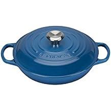 Le Creuset Evolution - Cocotte redonda baja, de hierro colado esmaltado, 26 cm, color azul marsella