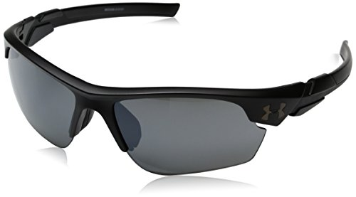 Under Armour UA Windup Wrap Sunglasses, UA Windup Satin Black / Black Frame / Gray Multiflection Lens, 58 mm