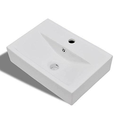 vidaXL Waschbecken Keramik Hahnloch Waschtisch Aufsatzwaschbecken Waschschale