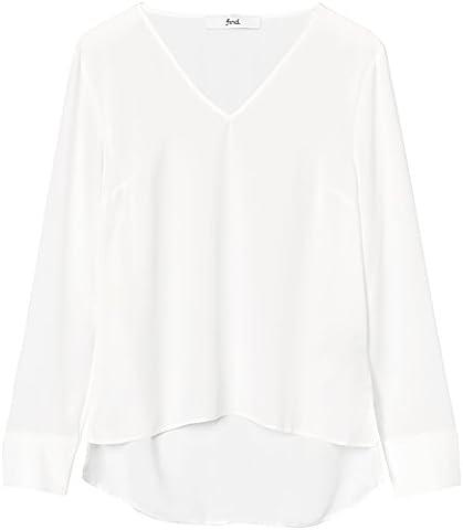 FIND Damen Bluse mit V-Ausschnitt Weiß (Ivory), 38 (Herstellergröße: