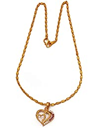 Radha's Creations Ruby Pendant With Chain Length 18 Inches One Gram Gold Plated For Women And Girls