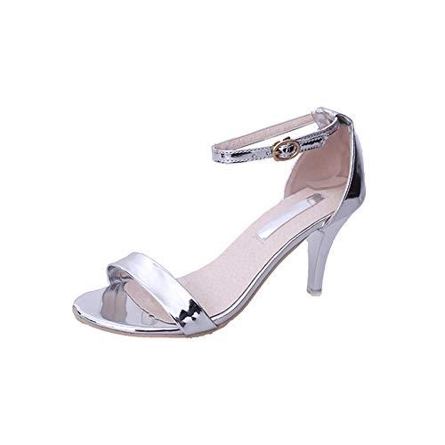 Nadel Ferse Sandale Riemchen-Sandalen Sommer Damen offene Spitze Schuhe mit hohen Absätzen der Partei (Hohe - Partei)
