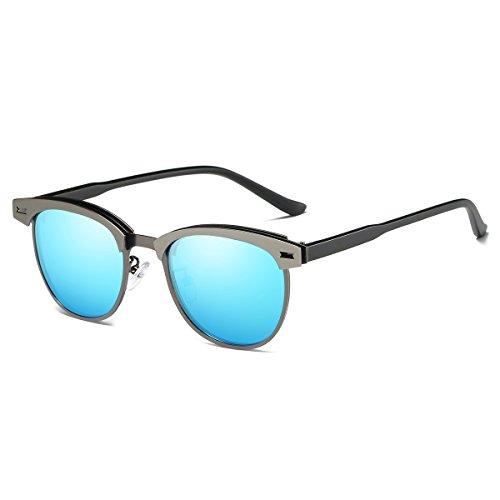 Rocf Rossini Halbrandlose Polarisierte Clubmaster Sonnenbrille für Männer Klassische Metall Retro Polarisierte Frauen Sonnenbrille UV400 (Blau)
