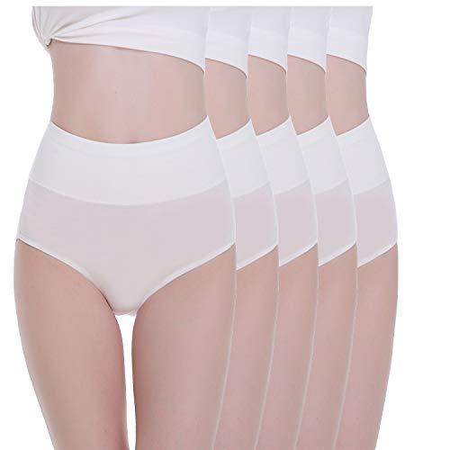 TUUHAW Unterhosen Damen Unterwäsche 5er Pack Slip Miederhose Baumwolle Hoher Taille Atmungsaktive_Weiß_3XL -