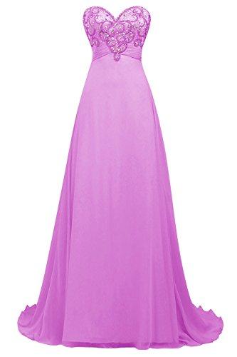 Bbonlinedress Robe de cérémonie Robe de soirée emperlée forme empire bustier en cœur longueur ras du sol Lilas