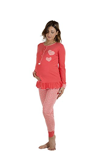 Premamy - Damen Stillpyjama - Farbe: Rot Rot