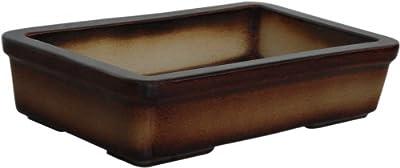 K&K Bonsaischale, Outdoor geeignet, braun-geflammt, 29x18x7cm Steinzeug (hochwertiger als Steingut) frostbeständig von K&K Keramik bei Du und dein Garten