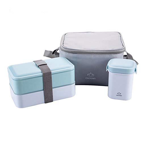 Hohe Qualität Lunch Box Wasser Suppe Becher Isolierte Mittagessen Kühler Einkaufstasche Lebensmittelbehälter Mikrowelle Bento Lunch Box 3 Farbe,Blue