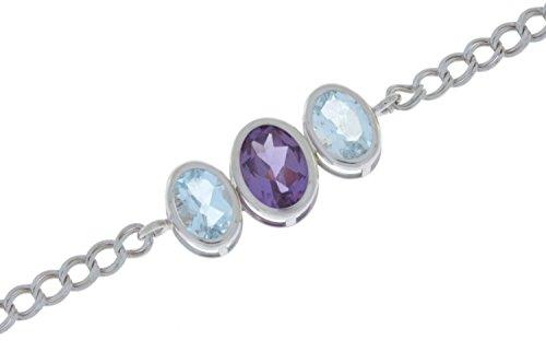 Elizabeth Jewelry 3,5quilates creado Alejandrita & Natural aguamarina Oval bisel pulsera plata de ley 925