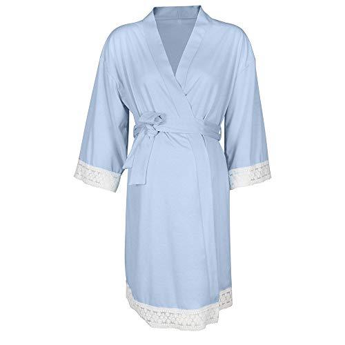 Amphia - Mutterschafts Nachthemd Pyjamas für Frauen + GürtelFrauen Umstandskleid Still-Nachthemd Stillen Nachthemd Lace Sleepwear - (Hellblau,L)