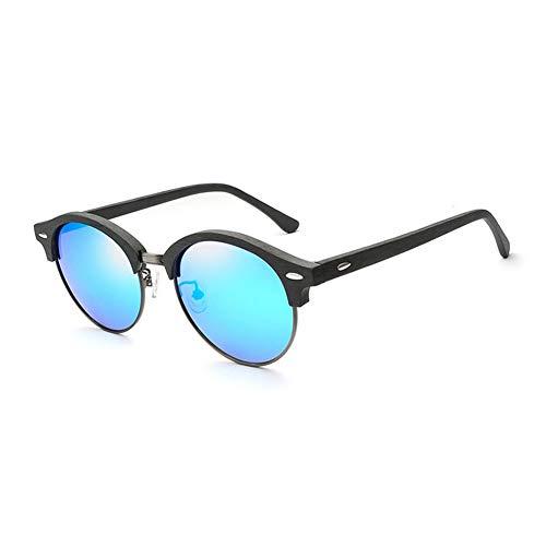 AZB Hochwertige Bambus Holz Nerd Retro Sonnenbrille, mattschwarze Front und polarisierte Gläser Holzrahmen UV400 Geschenk mit Originalverpackung - 9 Modelle wählbar,B