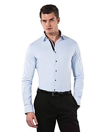 Vincenzo Boretti Herren-Hemd Body-Fit (besonders Slim-fit tailliert) Uni-Farben bügelleicht - Männer lang-arm Hemden für Anzug Krawatte Business Hochzeit Freizeit eisblau/dunkelblau 39/40