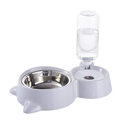 SPUQB Katze Hundenapf, Trinkbrunnen für Haustiere, Edelstahl-Katzennäpfe, automatische Schwerkraft-Wasserschale