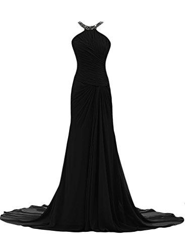 ivyd ressing Femme Ligne étui élégante traîne mousseline Prom robe robe de bal robe du soir Schwarz