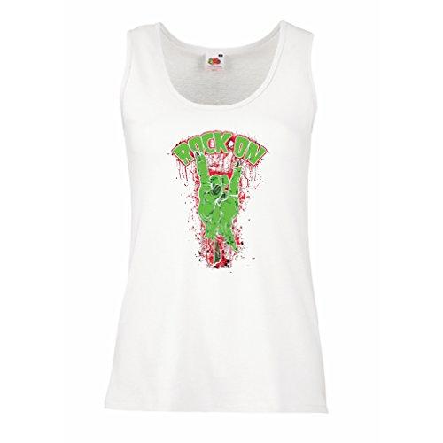 lepni.me Damen Tank-Top Metall-Symbol der Zombie-Hand! Zeichen der Hörner (Large Weiß Mehrfarben) (Socken Herren Roll-top Weißen)