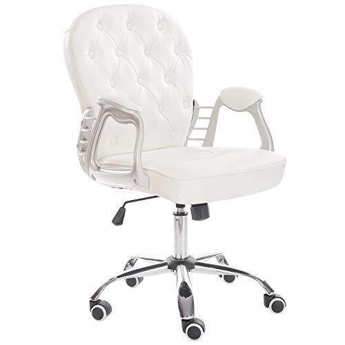 Lifelook Bürostuhl Chefsessel Drehstuhl Schreibtischstuhl Computerstuhl LederStuhl Höhenverstellung Verstellbarer Gamer Office Stuhl für Büro Polsterung mit Armlehnen,Weiß