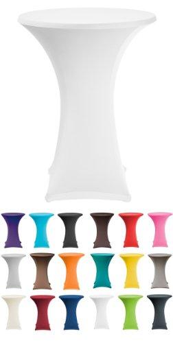 Stehtischshop Stretchhusse Weiss + Topcover Durchmesser 80-90cm (in vielen verschiedenen Farben erhältlich)