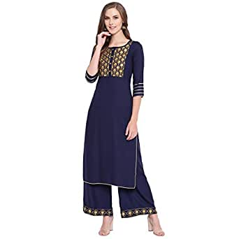 Stylum Women's Embroidered Rayon Straight Kurta Palazzo Set (Navy Blue) (Small, Navy Blue)