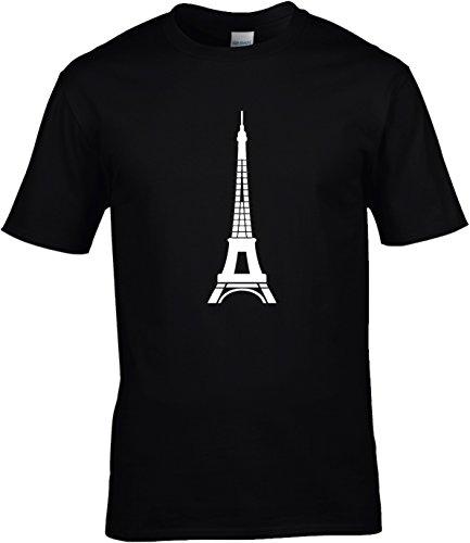 Fun Shirt Herren Eiffelturm Wahrzeichen Paris großer Aufdruck Schwarz