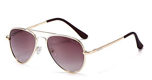 Kinder Polarisiert Sonnenbrille verspiegelt Polarized Aviator für Jungen und Mädchen Etui 3025k (Braungetönt/Gold)