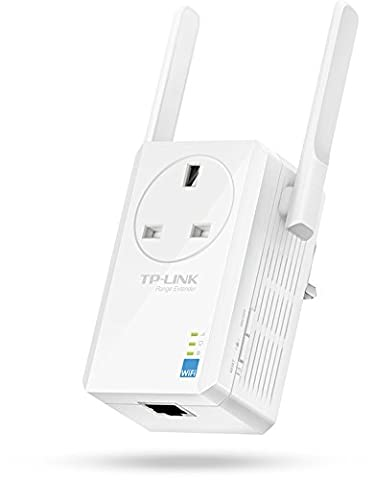 TP-Link TL-WA860RE N300 Universal Range Extender with Extra Power Outlet, Broadband/Wi-Fi Extender, Wi-Fi Booster/Hotspot with 1 Ethernet Port and 2 External Antennas, Plug and Play, UK