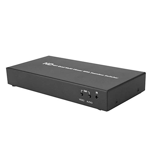 Bewinner 4 x 1 HDMI-Splitter, HDMI-Bild-Quad-Video-Splitter, Nahtloser Umschalter, Ausgang mit 1080 P und 60 Hz Auflösung, kompatibel mit HDMI1.3a, HDCP1.2, DVI1.0,3-Anzeigemodus Optional(EU) Quad Video Splitter