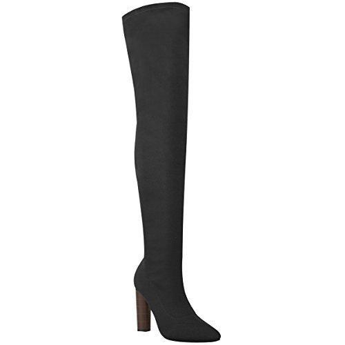 Damen Hoch Schenkelhoch Stretch Gestrickt Stiefel Overknee Promi High Heels Größe Schwarz Feinstrick