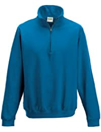 AWDis Sophomore Zip Neck Sweatshirt (Large, Sapphire Blue)