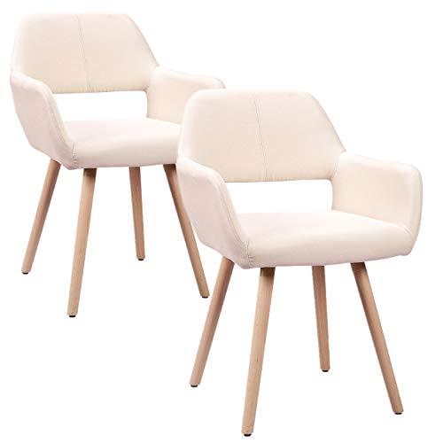 HENGMEI 2X Wohnzimmerstuhl Esszimmerstuhl Bürostuhl Küchenstuhl für Esszimmer und Küchen (Beige)