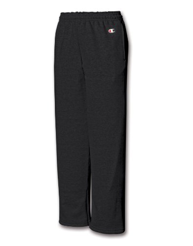 Champion Youth Double Dry Action Fleece Open Bottom Pant, Black, XL - Fleece Open Bottom Pant