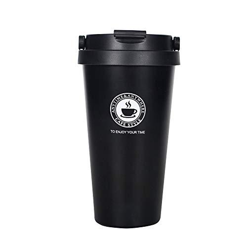gngs Langlebig 18/8Edelstahl Kaffee Becher | Vakuum Isoliert Travel Coffee Tumbler mit Griff | Einhandbedienung, Weithals, Flip Cap, 17Unze schwarz - Mug Vakuum-versiegelt Travel